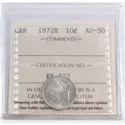 10-cent 1872H ICCS Certified AU-50