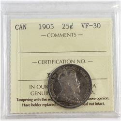 25-cent 1905 ICCS Certified VF-30