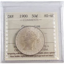50-cent 1900 ICCS Certified MS-60. The ICCS holder for this coin lists corrosion, but upon further i