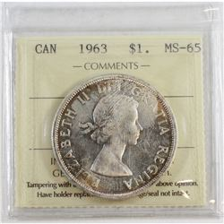 Silver $1 1963 ICCS Certified MS-65