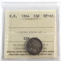 New Brunswick 10-cent 1864 ICCS Certified EF-45