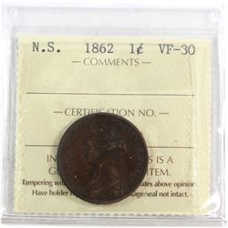 Nova Scotia 1-cent 1862 ICCS Certified VF-30. A Choice mid-grade Coin with rich chocolate brown fiel