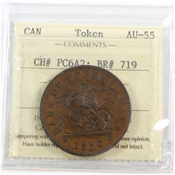 CH# PC6A2 1850 Bank of Upper Canada One Penny ICCS Certified AU-55. An attractive light brown coin w