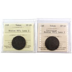 Lot 2x Ships and Colonies Tokens ICCS Certified. Lot includes: 2x Breton 997, Lees 2, VF-20 & EF-40