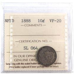 Newfoundland 10-cent 1888 ICCS Certified VF-20.