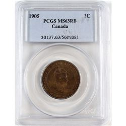 1905 Canada 1-cent PCGS Certified MS-63 Red Brown