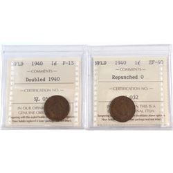 1-cent 1940 NFLD Double 1940 F-15 & Repunched 0, EF-40. Both Coins ICCS Certified. 2pcs