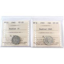 10-cent 1940 NFLD ICCS Certified - Double 19 VF-20 & Double 1940 VF-30. 2pcs