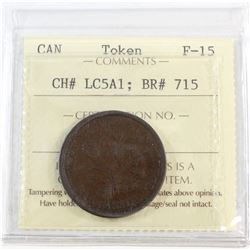 CH# LC5A1, Banque Du Peuple Montreal, Un Sou (Open Wreath, Large Bow, Reeded) ICCS Certified F-15