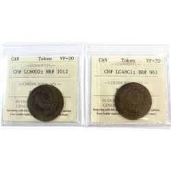 CH# LC48C1 (1812 Tiffin Token, Counter-clockwise) VF-30, & LC60D2 (1820 Harp & Bust 10 Strings Brass