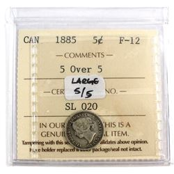 5-cent 1885, Large 5/5, ICCS Certified F-12.