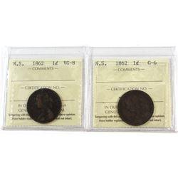 1-cent 1862 N.S. ICCS Certified G-6 & VG-8. 2pcs