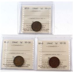 1-cent 1944C NFLD x3 ALL ICCS Certified VF-30. 3pcs