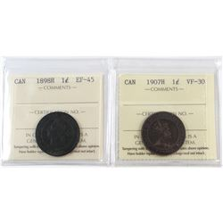 1898H Canada 1-cent EF-45 & 1907H Canada 1-cent VF-30. Both coins have been Certified by ICCS. 2pcs.