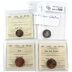 1858-1957 Canada Coin Collection. You will receive 1858 Canada 10-cent Good, 1906 5-cent EF-45, 1932