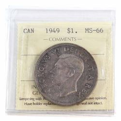 Silver $1 1949 ICCS Certified MS-66. Nice even toning throughout the Obverse and Reverse of the coin