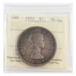 Silver $1 1955 ICCS Certified MS-64