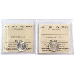 1938 & 1941 Canada 10-cent ICCS Certified MS-63. 2pcs