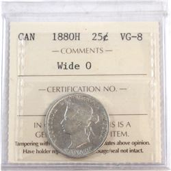 1880H Canada 25-cent Wide 0 ICCS Certified VG-8