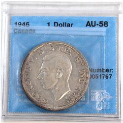 1946 Canada Silver $1 CCCS Certified AU-58
