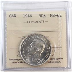 1946 Canada 50-cent ICCS Certified MS-62