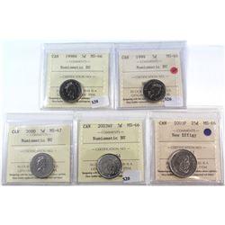 1998-2003 Canada 5-cent ICCS Certified - 1998W MS-66 NBU, 1999 MS-66 NBU, 2000 MS-67 NBU, 2003WP MS-