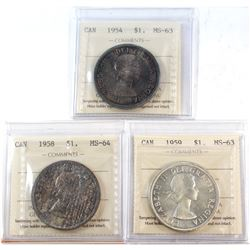 1954-1959 Canada Silver $1 ICCS Certified - 1954 MS-63, 1958 MS-64 & 1959 MS-63. 3pcs