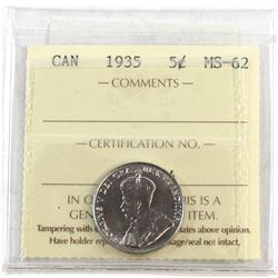 1935 Canada 5-cent ICCS Certified MS-62