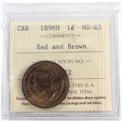1898H Canada 1-cent ICCS Certified MS-63 Red Brown