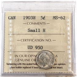 1903H Canada 5-cent Small H ICCS Certified MS-62