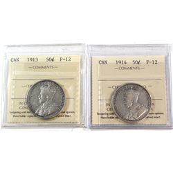 1913 & 1914 Canada 50-cent ICCS Certified F-12. 2pcs