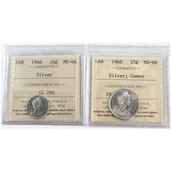 1968 Canada 10-cent Silver & 25-cent Silver Cameo ICCS Certified MS-66. 2pcs