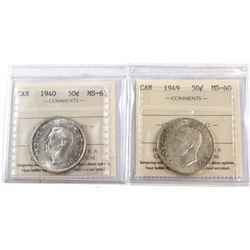 1940 Canada 50-cent ICCS Certified MS-63 & 1949 50-cent ICCS MS-60. 2pcs