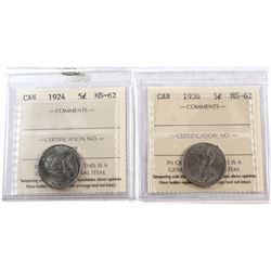 1924 & 1936 Canada 5-cent ICCS Certified MS-62. 2pcs