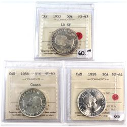 1953, 1956 & 1959 Canada 50-cent ICCS Certified - 1953 LD SF MS-63, 1956 MS-60 Cameo & 1959 MS-64. 3