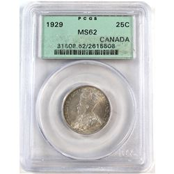 1929 Canada 25-cent ICCS Certified MS-62