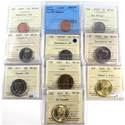 Group Lot of 10x 2000-2017 Canada 1-cent, 5-cent, 25-cent, 50-cent & Loon $1 ICCS Certified - 2009 1