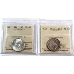 1944 & 1945 Canada 25-cent ICCS Certified MS-63. 2pcs