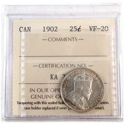 1902 Canada 25-cent ICCS Certified VF-20