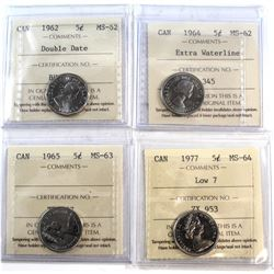 1962-1977 Canada 5-cent ICCS Certified - 1962 Double Date MS-62, 1964 EWL MS-62, 1965 MS-63 & 1977 L