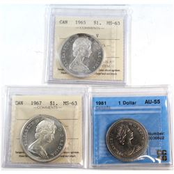 1965, 1967 & 1981 Canada Dollars ICCS/CCCS Certified - 1965 Type V ICCS MS-63, 1967 ICCS MS-63 Cameo
