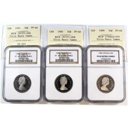 1983, 1985 & 1989 Canada 50-cent Cross Graded NGC Certified PF-69 Ultra Heavy Cameo & ICCS Certified