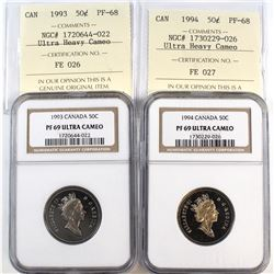 1993 & 1994 Canada 50-cent Cross Graded NGC Certified PF-69 Ultra Heavy Cameo & ICCS Certified PF-68