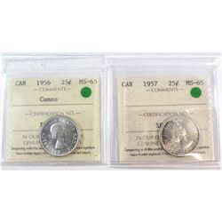 1956 Cameo & 1957 Canada 25-cent ICCS Certified MS-65. 2pcs