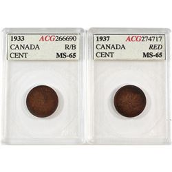 1933 RB & 1937 Red Canada 1-cent ACG Certified MS-65. 2pcs