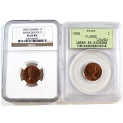 1954 Canada 1-cent SF NGC Certified PL-65 Red & 1956 1-cent PCGS Certified PL-66 Red. 2pcs