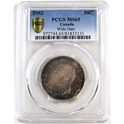 1952 Canada 50-cent Wide Date PCGS Certified MS-65