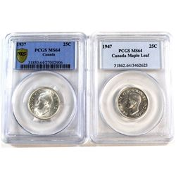 1937 & 1947 Maple Leaf Canada 25-cent PCGS Certified MS-64. 2pcs