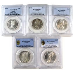 1953 SD No Strap, 1958, 1961, 1965 & 1967 Canada 50-cent PCGS Certified MS-64. 5pcs