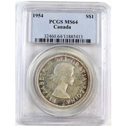 1954 Canada Silver $1 PCGS Certified MS-64